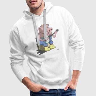 The Hillbilly banjo playing pig - Men's Premium Hoodie