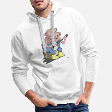 Hillbilly The Hillbilly banjo playing pig - Men's Premium Hoodie