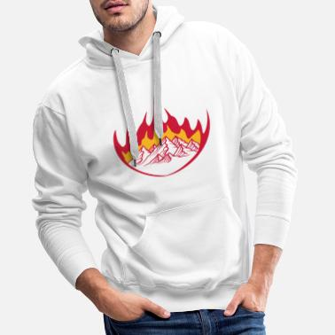Fire Department white hot fire flames burn mountains huegel alp - Men's Premium Hoodie