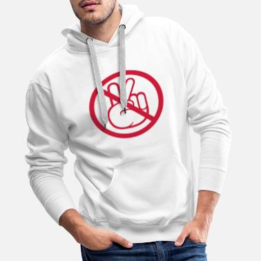 Peace Sign zone no peace forbidden signboard hand sign symbol - Men's Premium Hoodie