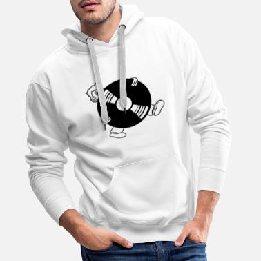 Up vinyl round circle plate dj hang up party music fe - Men's Premium Hoodie