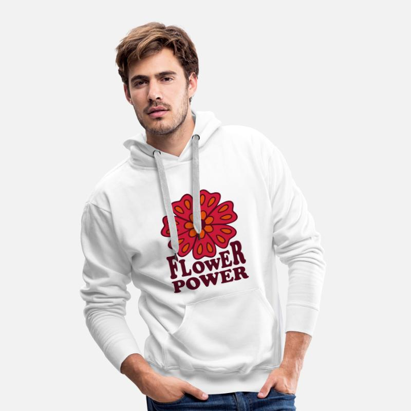 Hippie Hoodies & Sweatshirts - Flower Power  Goa Hippie Flower 70s  Flower  - Men's Premium Hoodie white