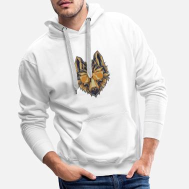 Short Wolf With Sunglasses T-Shirt Canine Wolves Head - Men's Premium Hoodie