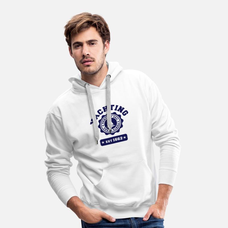 Sweat-shirts - Yachting Voile - Sweat à capuche premium Homme blanc