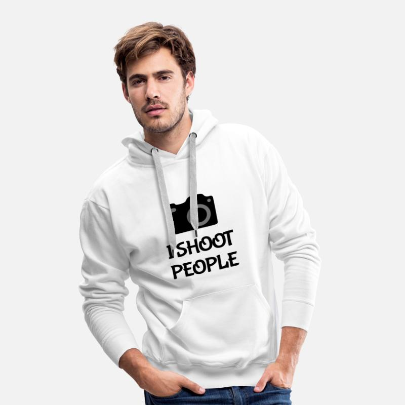 Camera Hoodies & Sweatshirts - Shoot People - Men's Premium Hoodie white