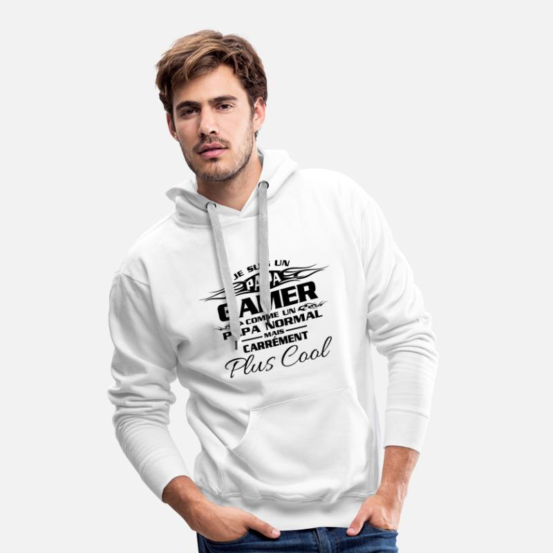 Vidéo Sweat-shirts - Papas gamers - Sweat à capuche premium Homme blanc