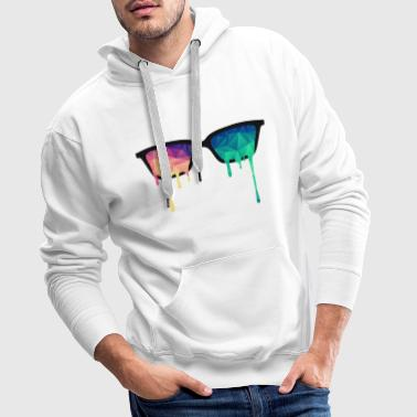 Abstract Psychedelic Nerd Glasses with Color Drops - Men's Premium Hoodie