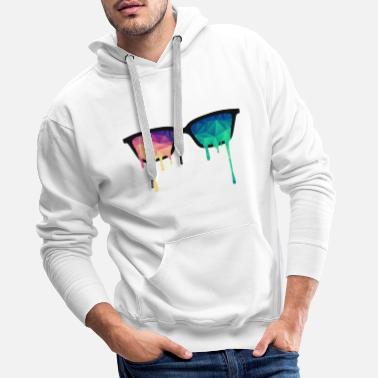 Stylish Abstract Psychedelic Nerd Glasses with Color Drops - Men's Premium Hoodie