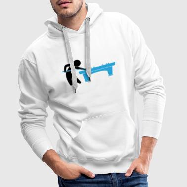 A pool player is on the pool table - Men's Premium Hoodie
