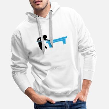 Snooker A pool player is on the pool table - Men's Premium Hoodie
