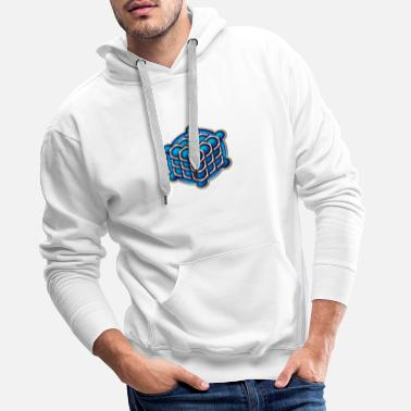 Ufo 3D Cube - crop circle - Metatrons Cube - Hexagon / - Men's Premium Hoodie