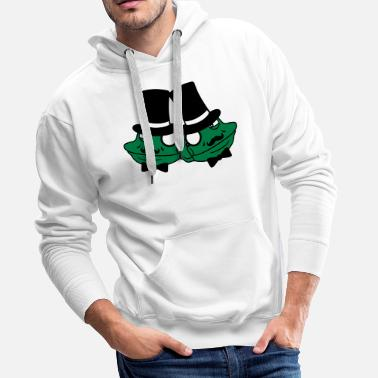 Friends Forever team couple 2 friends duo face head frog empire - Men's Premium Hoodie
