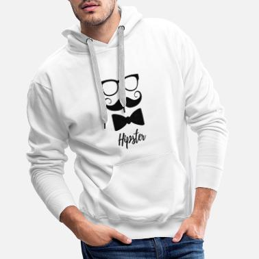 Hipster - Minimalist design with glasses, beard - Men's Premium Hoodie