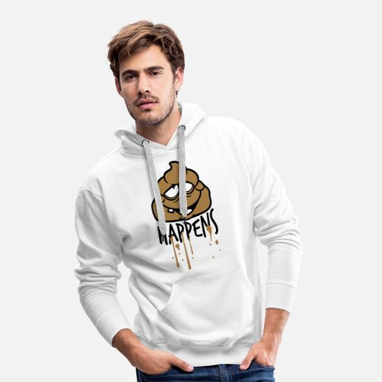 Funny Animals Hoodies & Sweatshirts - face comic cartoon funny shit happens color tr - Men's Premium Hoodie white
