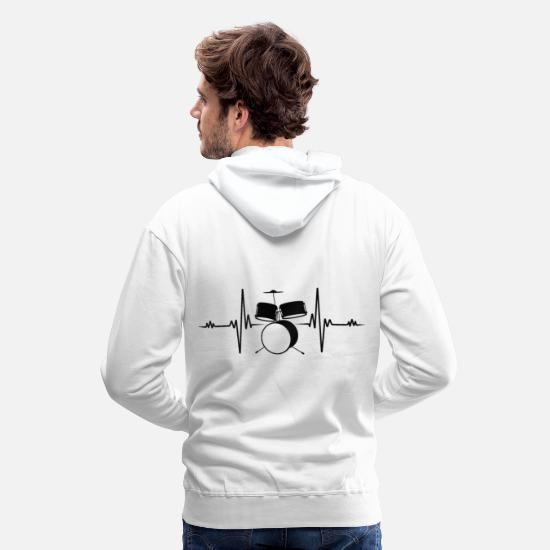 Gift Idea Hoodies & Sweatshirts - Drummer Heartbeat Drummer Drums Fun Gift - Men's Premium Hoodie white