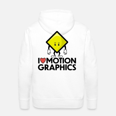 Emoji I Love Motion Graphics Keyframe - Men's Premium Hoodie