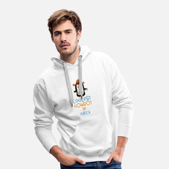 Adult Hoodies & Sweatshirts - Coolest Cowboy Penguin in Zurich Gift - Men's Premium Hoodie white