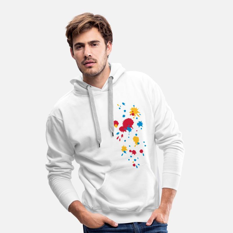 couleur éclaboussure, paintball, jeu, graffiti Sweat shirt à capuche Premium pour hommes blanc