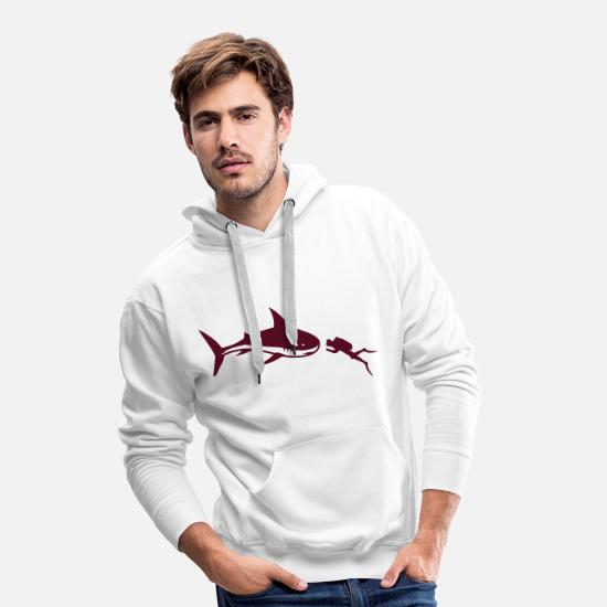 Dive Hoodies & Sweatshirts - A shark and a diver - Men's Premium Hoodie white