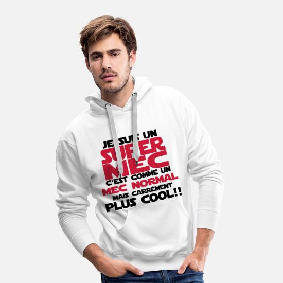 Couple Sweat-shirts - un super mec - Sweat à capuche premium Homme blanc