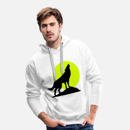 Husky Sweat-shirts - Wolf and full moon (super cheap!) - Sweat à capuche premium Homme blanc