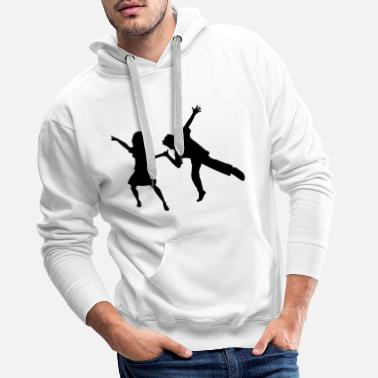 Techno Girl dancing woman man love couple celebrate party girl - Men's Premium Hoodie
