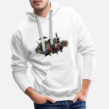 Steam Engine Impressive steam engine with flowers - Men's Premium Hoodie
