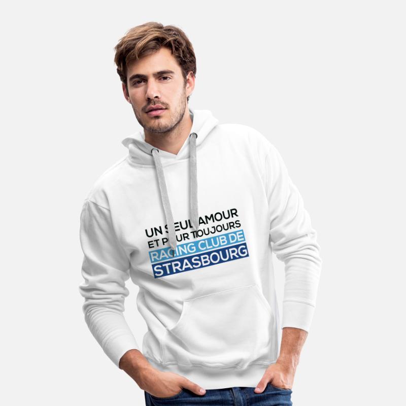 Racing Club de Strasbourg Sweat shirt à capuche Premium pour hommes blanc