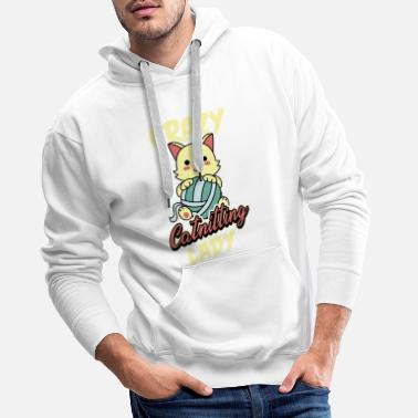 Crochet Crazy Catnitting Lady Crocheter Kitten Crocheting - Sweat à capuche premium Homme