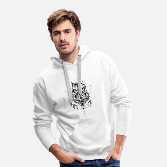 Gift Idea Hoodies & Sweatshirts - Wolf Rage Occult Streetwear Urban Fashion Tattoo - Men's Premium Hoodie white