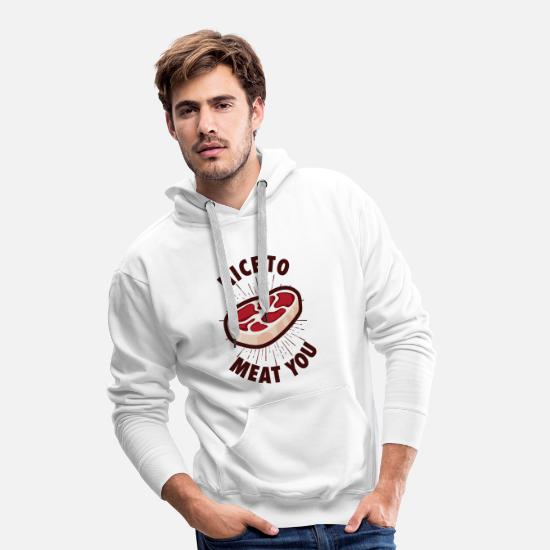 Heat Hoodies & Sweatshirts - Nice to meat you - Funny BBQ Gift - Men's Premium Hoodie white