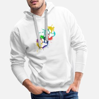 Dog Dog paws imprinted color patch paw dog - Men's Premium Hoodie