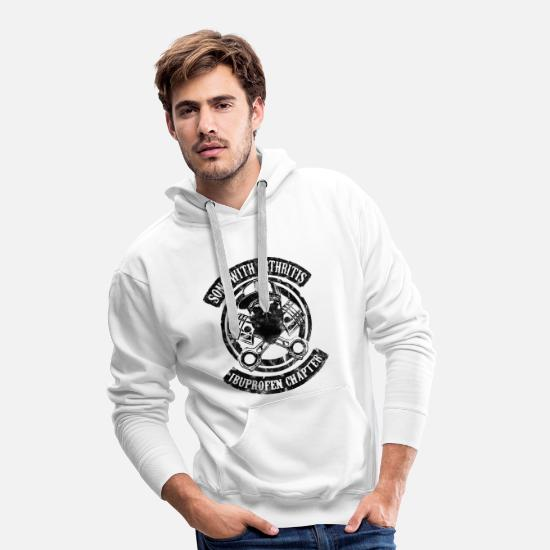 Motorcycle Hoodies & Sweatshirts - Sons With Arthritis black biker humor son man - Men's Premium Hoodie white
