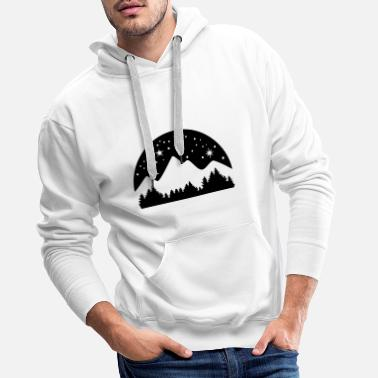 Ciel Étoilé Mountains, Forest and Starry Night Sky, 3 colours - Sweat à capuche premium Homme