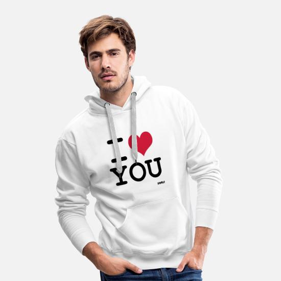 Love Hoodies & Sweatshirts - i love you (I love you) by wam - Men's Premium Hoodie white
