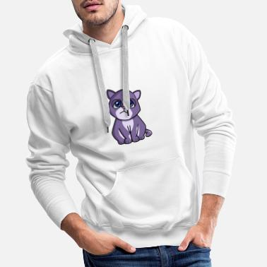 Cat purple blue - Men's Premium Hoodie