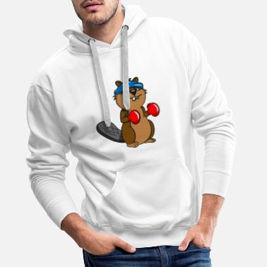 Fur Beaver tooth boxing funny sport wood dam water whale - Men's Premium Hoodie