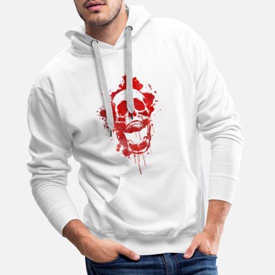 Duża czaszka bluza męska kolor biały