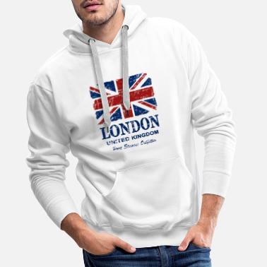 Angleterre Union Jack - London - Vintage Look - Sweat à capuche premium Homme