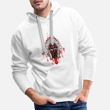 Gas Mask Chief white feather - Men's Premium Hoodie