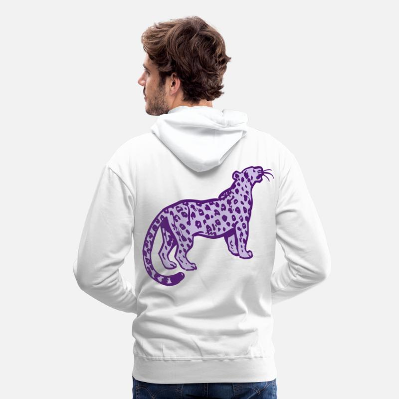 Leopard Hoodies & Sweatshirts - Curious Leopard by Cheerful Madness!! - Men's Premium Hoodie white