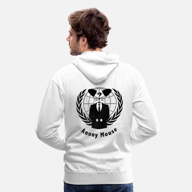 Anonymous Hoodies & Sweatshirts - anony mouse v2 - Men's Premium Hoodie white