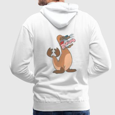 Cartoon Singing Seal by Cheerful Madness!! - Men's Premium Hoodie