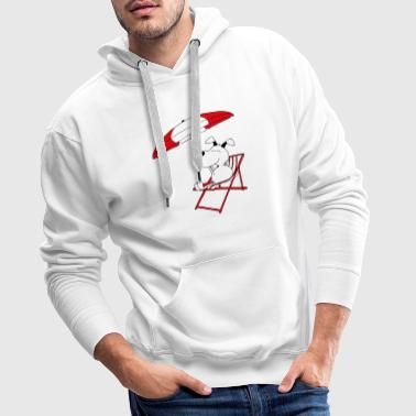 Cute dog with sunbed and umbrella - Men's Premium Hoodie