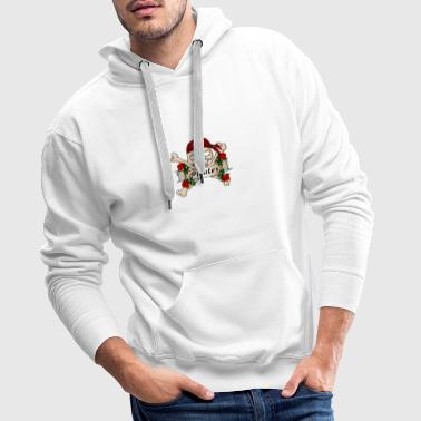 Pirate head with roses, In the name of the rose - Men's Premium Hoodie