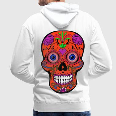 Colorful skull with bloody eyeballs Halloween - Men's Premium Hoodie