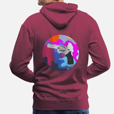 Weapons Round Revolver Art Painting - Men's Premium Hoodie