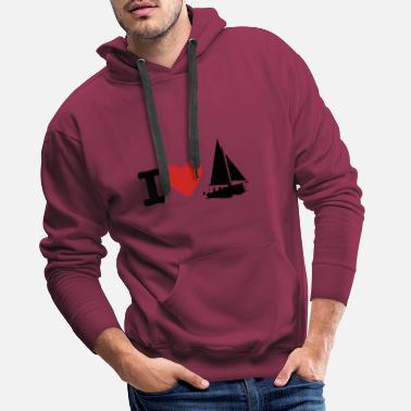 I love sailing boat ship - Men's Premium Hoodie
