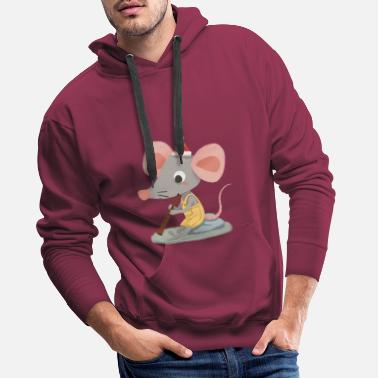 Mammal Mouse touches bagpipe - Men's Premium Hoodie