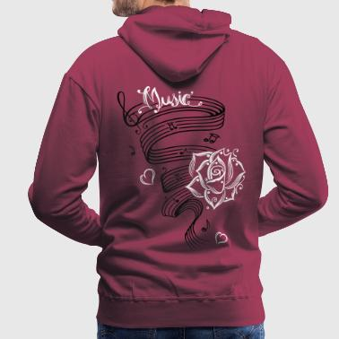 Music notes with music sheet and rose. - Men's Premium Hoodie